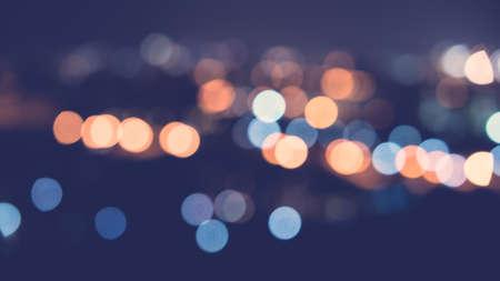 city light: Bokeh city light - vintage filter effect Stock Photo