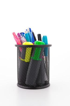 School tool bucket isolated on white background photo