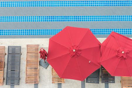 blue top: Umbrella pool - top of view