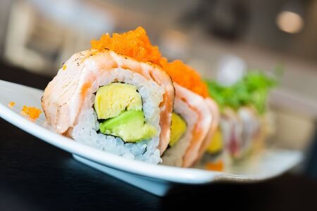 SUSHI: Sushi roll healthy food - japanese food style