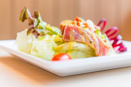 dinner plate: Tuna salad with miso sauce - japanese food style - selective focus