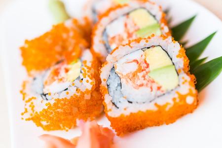 california roll: California roll sushi maki - japanese food - Selective focus point Stock Photo