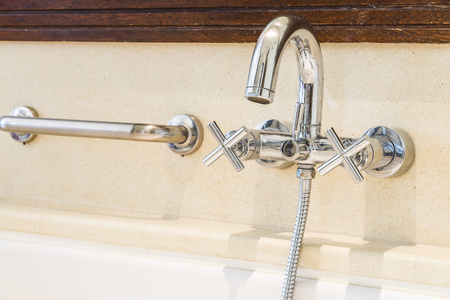 faucet water: Faucet water tap in bathroom Stock Photo