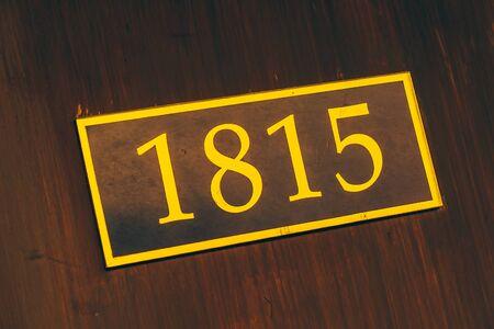 room door: Room number sign at door - vintage filter