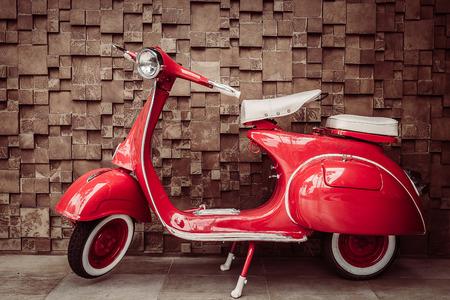 Red vintage motorcycle - vintage filter Stock Photo