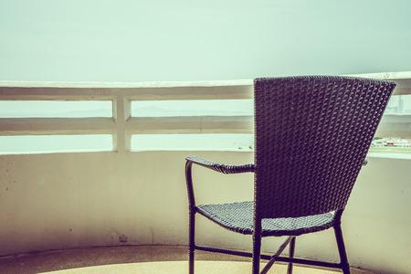 empty chair: Empty chair deck - vintage filter