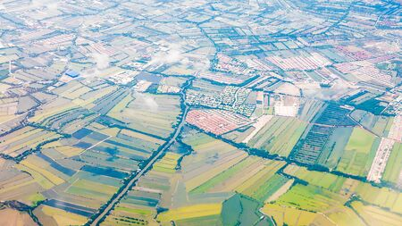 farm field: Aerial view of farm field