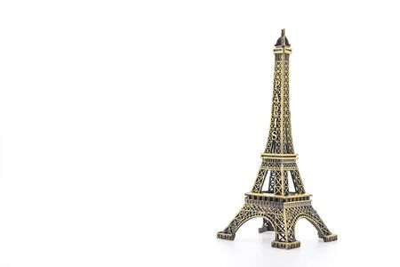 Eiffel Tower toy isolated on white background photo