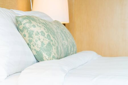 bedside lamps: Bed room interior Stock Photo