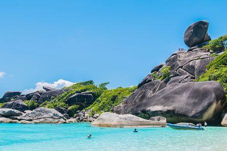 similan: Beautiful Similan rock island at andaman sea in phuket Thailand Stock Photo