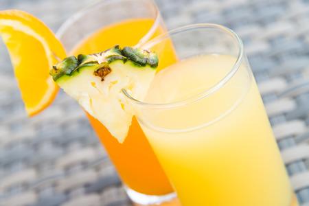 pineapple  glass: Pineapple juice glass Stock Photo