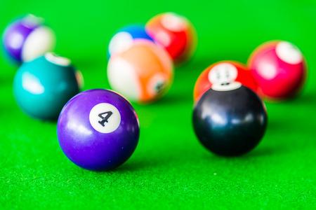 billiards halls: Selective focus on Billiards ball Stock Photo