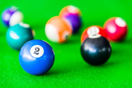 snooker halls: Selective focus on Billiards ball Stock Photo