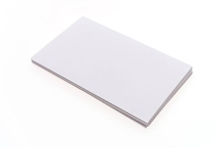 Blank white card isolated on white background Stock Photo