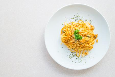 spaghetti sauce: Top of view Spicy Spaghetti seafood , italian food