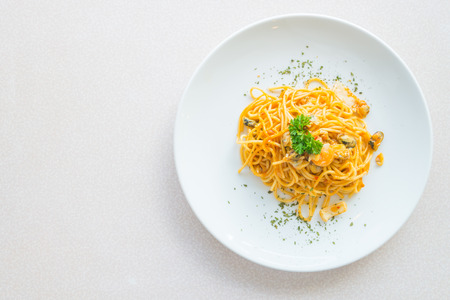 Top of view Spicy Spaghetti seafood , italian food