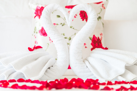 Towel swans and rose flower on bedroom for honeymoon couple photo