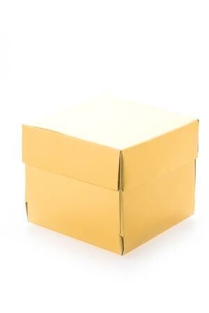 gold gift box: Gold gift box isolated on white