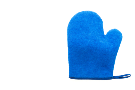 double oven: Blue oven glove isolated on white