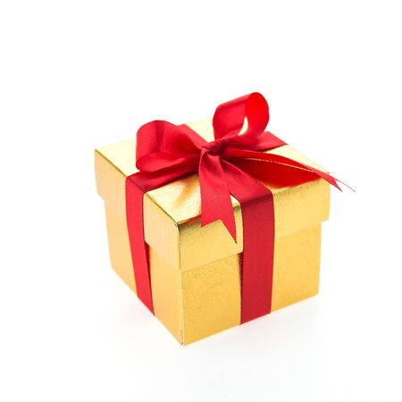 gold gift box: Christmas gold gift box isolated on white  Stock Photo