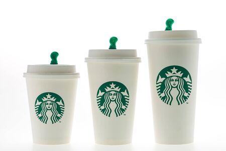starbucks coffee: Bangkok, Thailand - Jun 9, 2015 : Starbucks coffee cup on white