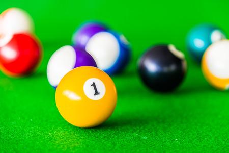 pool halls: Selective focus on Billiards ball Stock Photo