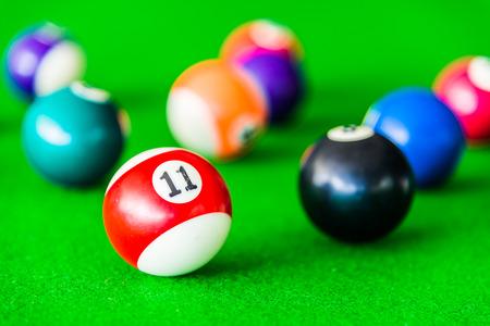 billiards hall: Selective focus on Billiards ball Stock Photo