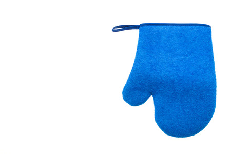 double oven: Blue oven glove isolated on white background