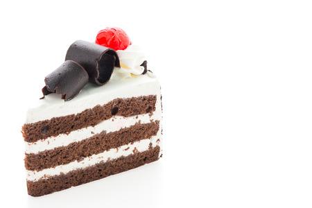 rebanada de pastel: Tortas forestales negros aislados en el fondo blanco
