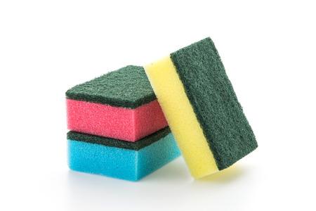wash dishes: Sponge dish isolated on white background