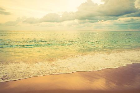 landscape: Vintage beach and sea - vintage filter