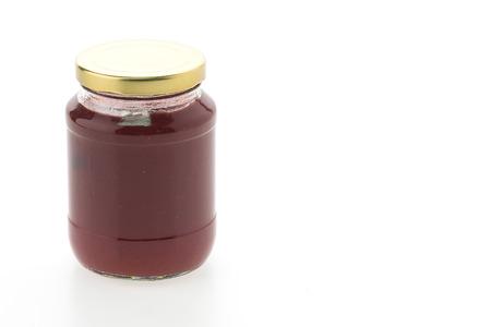 jam jar: Strawberry jam jar isolated on white background