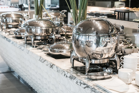 hotel service: Catering buffet food in restaurant service