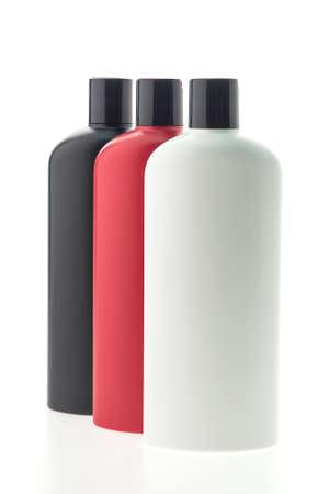 shampoo bottles: Blank shampoo bottles isolated on white background Stock Photo
