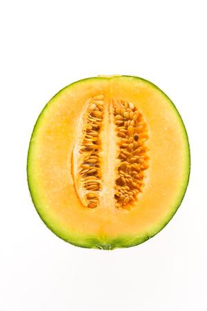 melon fruit: Cantaloupe melon fruit isolated on white background