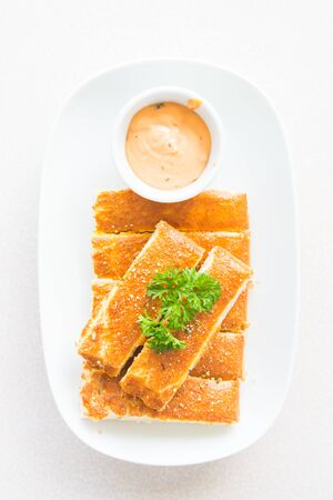 breadstick: Top of view Bread stick with sweet sauce Stock Photo