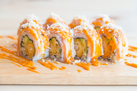 sushi: Selective focus point on Salmon sushi roll , traditional japanese food style