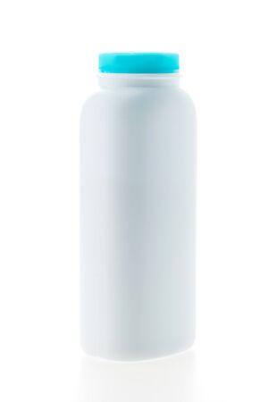 talc: Baby powder bottle isolated on white background Stock Photo