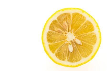 isolated on yellow: Yellow Lemon fruit isolated on white background Stock Photo