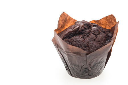 muffin: Chocolate muffin cake isolated on white background