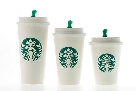 starbucks coffee: Bangkok, Thailand - Jun 9, 2015 : Starbucks coffee cup on white background Editorial