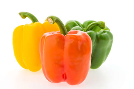 green pepper: Colorful bell pepper vegetable isolated on white background Stock Photo