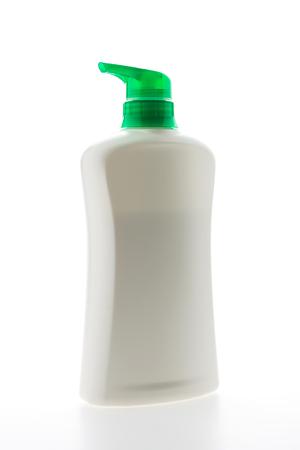 shampoo bottles: Blank plastic shampoo bottles isolated on white  Stock Photo