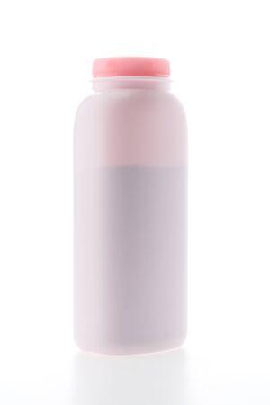 talc: Baby powder bottle isolated on white  Stock Photo