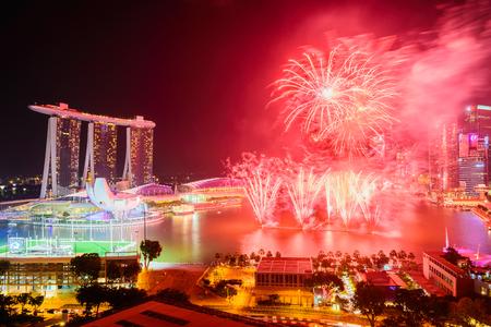 marina: Firework at singapore city