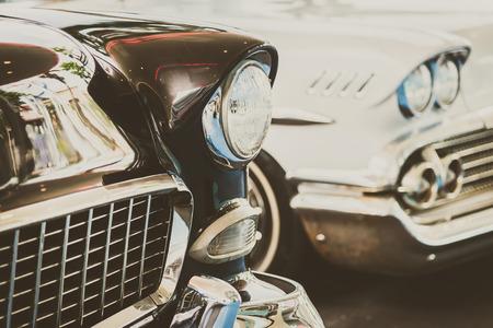 vintage car: Headlight lamp  vintage car - vintage filter effect