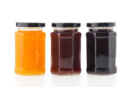 jam jar: Jam jar bottles isolated on white background