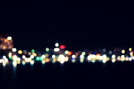 city light: Abstract bokeh city light - vintage filter Stock Photo