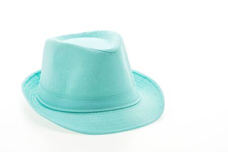 female leprechaun: Colorful fashion straw hat isolated on white  Stock Photo