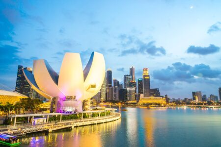 tourist attraction: SINGAPORE - JULY 19, 2015: view of Marina Bay. Marina Bay is one of the most famous tourist attraction in Singapore.